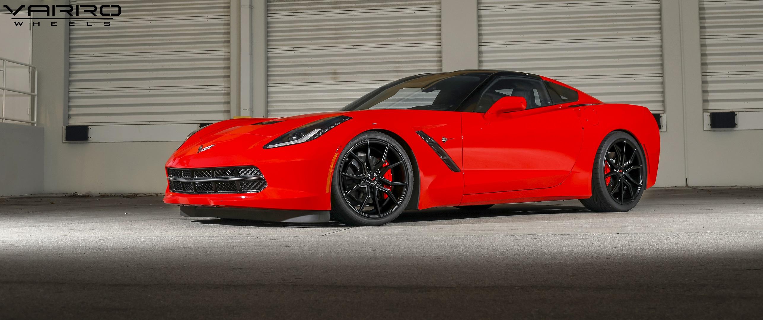Corvette Stingray Black Rims Varro Staggered VD19 Wheels